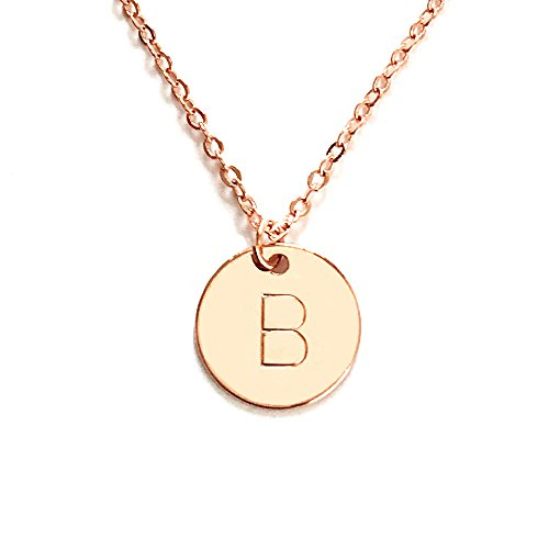- Personalized Round Disc Initial Pendant Necklace up to 3 Letters - CN (Rose Gold)