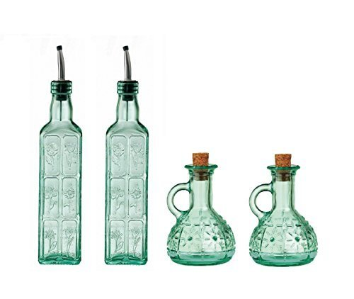 Country Home Restaurant Set, Consisting of: 2x Fiori Glass Olive Oil/Vinegar Bottles with Stainless Metal Pourers and 2x Olivia Glass Olive Oil Jugs with Cork Stoppers (4 Pieces)