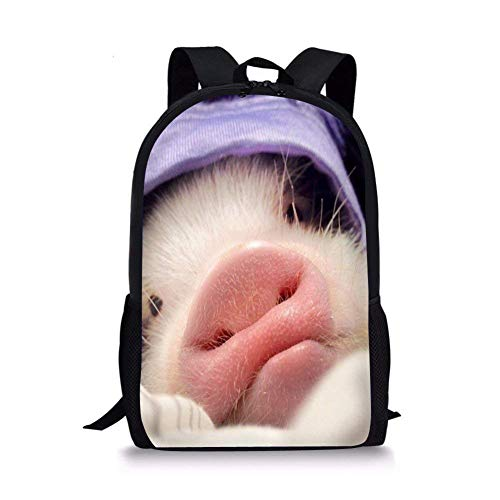 Pig Backpack for Elementary School Kids Boys Bookbags Personalized without Name Tags pig 5