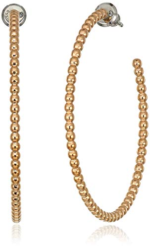 (Fossil Women's Textured Rose Gold-Tone Beaded Hoop Earrings, One Size )