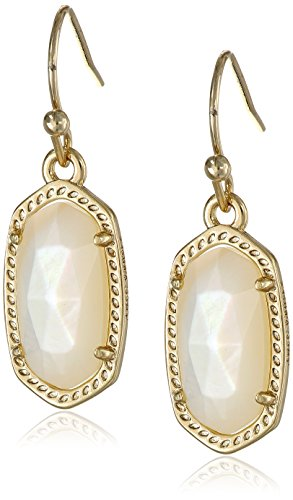 Kendra Scott Signature Lee Earrings in Gold Plated and Ivory (Gold Plated Mother Of Pearl Earrings)