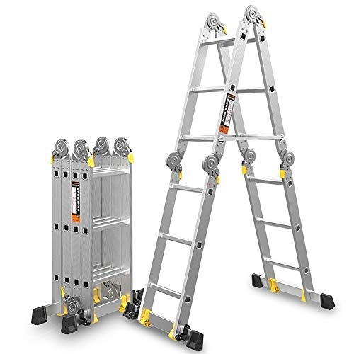 JIANPING Folding Multi-Purpose Extension Ladder Aluminum Can Extend The Safety Ladder Lock Hinge 330lbs Capacity Step Stool (Size : 1.8+1.8=3.6M(11.8ft))