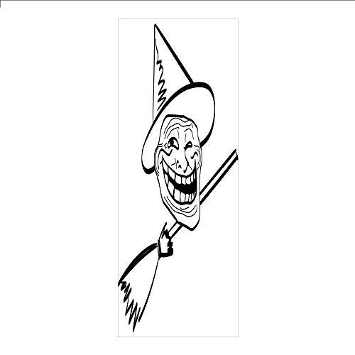 3D Decorative Film Privacy Window Film No Glue,Humor Decor,Halloween Spirit Themed Witch Guy Meme LOL Joy Spooky Avatar Artful Image,Black White,for -