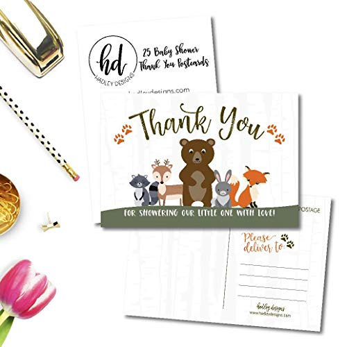 25 Girl or Boy Woodland Baby Shower Thank You Note Card Bulk Set, Blank Cute Animals Gender Reveal Neutral Sprinkle Postcards, No Envelope Needed For Party Gift, Personalize Printable Cardstock Photo #3