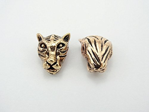 jennysun2010 Vintage Antique Rose Gold Tone Solid Metal Carved Tiger/Leopard Head Bracelet Necklace Connector Charm Beads 3 pcs per Bag for Earrings Jewelry Making Crafts ()