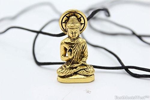 Vintage Gold Seated Buddha Shakyamuni Statue | Amitabha Pendant Protection Necklace