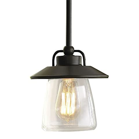 allen + roth Mission Bronze Edison Mini Pendant Light with Clear (Allen Roth Vallymede)
