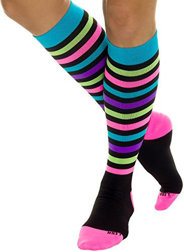 LISH Nurse Compression Socks for Women - Graduated 15-25mmHG Knee High Sport Socks (Stripes, M/L, W's 8-11)