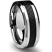Cavalier Jewelers 8MM Men's Titanium Ring Wedding Band Black Carbon Fiber Inlay and Beveled Edges