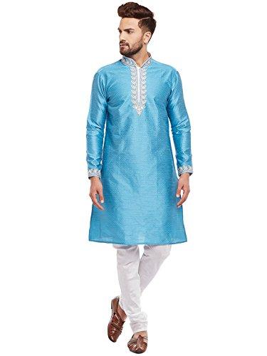Larwa Men's Silk embroideded Kurta Pyjama Set Special for Festive, Wedding, Party by Larwa