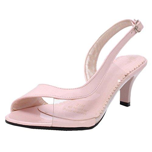 FANIMILA Mujer Moda Mini Tacon Strappy Sandalias Peep Toe Transparent Zapatos Extra Sizes Rosado