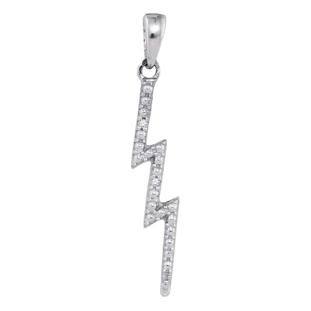 Sterling Silver Womens Round Diamond-accent Lightning Bolt Pendant .01 Cttw