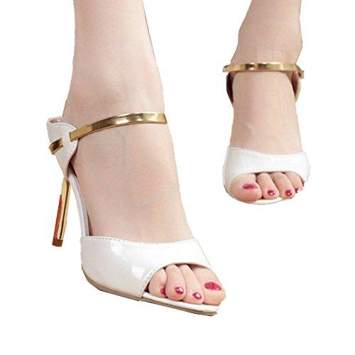 Mujer con Size Angel love EU Abierta beauty Zapatillas de Mujer Tacón White Zapatillas Alto de para Gold Tacón 40 Punta Aguja Sandalias Color y de pxFfq