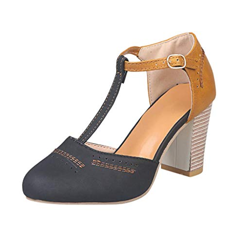 Mostrin Womens Classic t-Strap Buckle Sandals Chunky high Heels Vintage Oxfords Mary Jane Pump Shoes Hollow Shoes Black ()