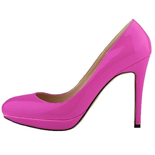 HooH Damen Pumps Plattform High Heel Kleid Pumps Hochzeit Schuhe Slip On Rosarot