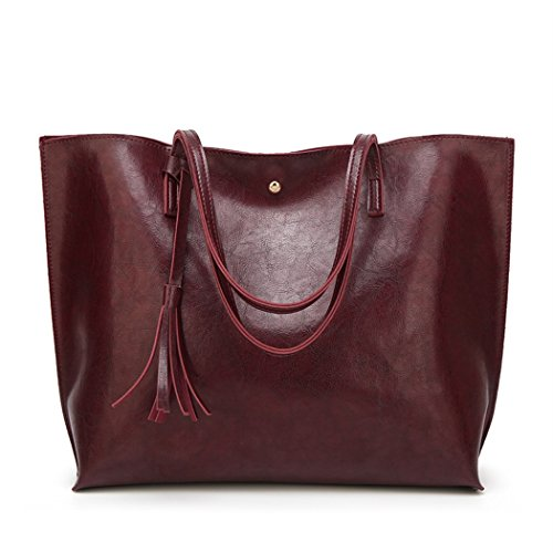 Nodykka Women Tote Bags Top Handle Satchel Handbags PU Pebbled Leather Tassel Shoulder Purse,One Size,Wax Red Wine (Shoulder Leather Handbag Tote)