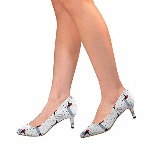 Scarpe Da Donna Low Cost Scarpe Col Tacco Alto Ginocchiera Scarpe Da Ginnastica Cani Che Dicono Bonjour, Pois Multi 1