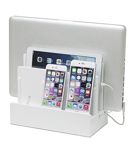 Double Face Mobile Bookcase (G.U.S. Multi-Device Charging Station Dock & Organizer - Multiple Finishes Available. For Laptops, Tablets, and Phones - Strong Build, High Gloss White)