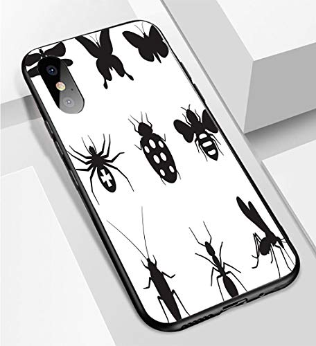 iPhone X/XS Ultra-Thin Phone case Stylized Insects Black and White Royalty Free Vector icon Set Anti-Drop Anti-Slip Soft Convenient Protective - Free Icons Royalty