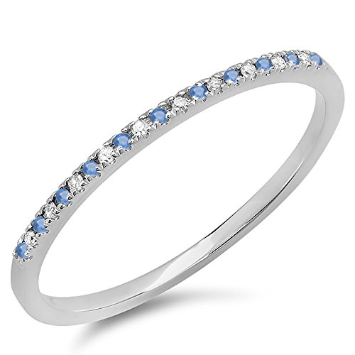 Dazzlingrock Collection 14K White Gold Round Blue Sapphire & White Diamond Ladies Dainty Wedding Stackable Band (Size 7)