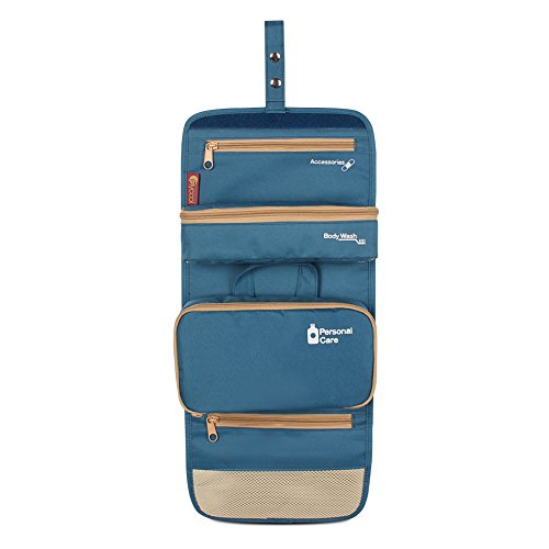 FLYCOOL Portable Toiletry Bag/ Travel Organizer for Makeup or Shaving Kit with Hanging Hook Blue