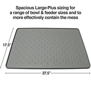 PetFusion ToughGrip Large Plus Dog Food Mat [Just The Right Size Before Getting Too Big @ 27x17]. Waterproof, Extra Tough FDA Grade Silicone 4