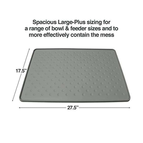 PetFusion Extra Large Dog Food Mat (New – ToughGrip). Waterproof pet placemat for Floors (27×17, Gray). FDA Grade Silicone [Superior Hygiene, Non-Toxic]