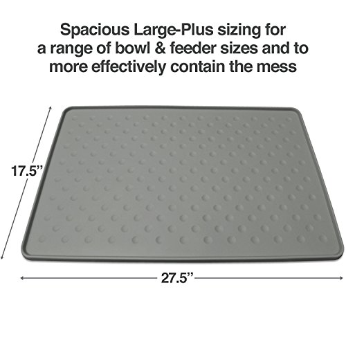 (PetFusion Extra Large Dog Food Mat (New - ToughGrip). Waterproof pet placemat for Floors (27x17, Gray). FDA Grade Silicone [Superior Hygiene, Non-Toxic])