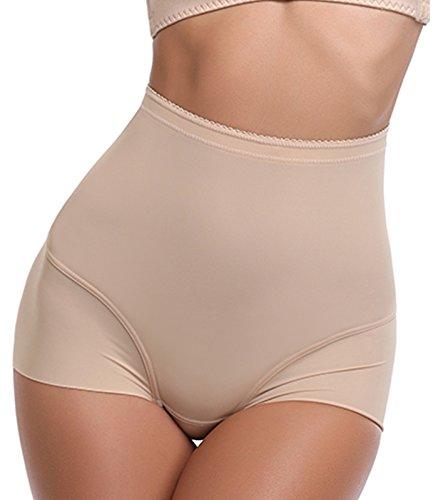 SLIMBELLE Women's High Waist Seamless Underwear Cotton Underpants Briefs Super Soft Panties with Tummy Control-Beige-L