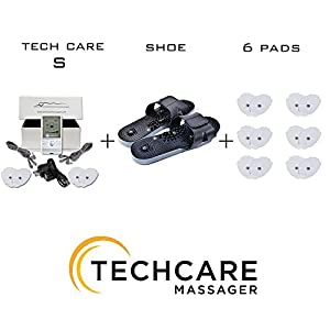 TechCare S Tens Massager FDA Cleared Unit Electric Massager Set With 6 Extra Pads + Reflexology Shoes for Pain Relief Therapy for Back Shoulder Neck Pain, Arthritis, Bursitis, Tendonitis, Sciatica