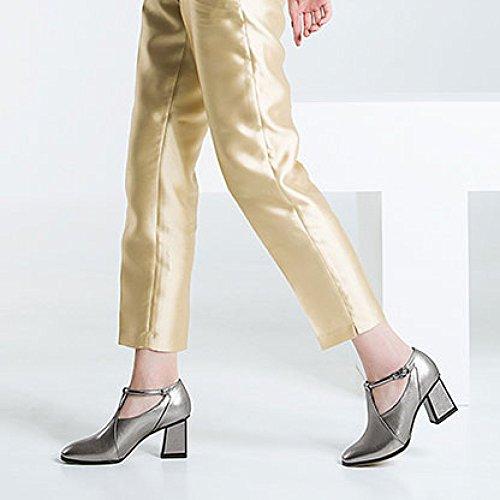 Saisons Chaussures Talons DKFJKI Cuir Quatre Carrées Têtes Hauts en Chaussures épais Femme Grey à de Travail Boucle Talon Profonde pour Rw1Zx1qv