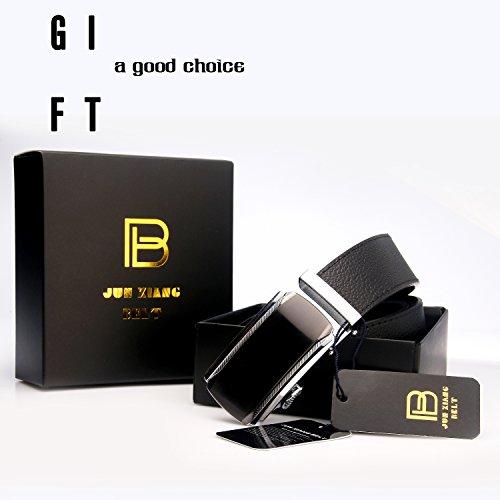 Men Designer Belt Sliding Buckle Ratchet Belt 35mm Wide 1 3/8'' Great Gift Idea by Jun Xiang (Image #1)