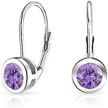 Bling Jewelry 925 Silver Simulated Amethyst CZ Bezel Set Drop Earrings