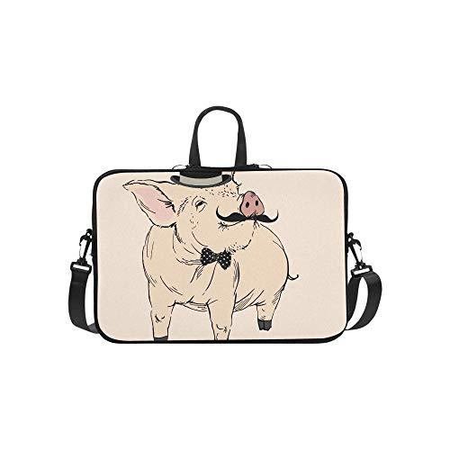 Bowler Handbag Small (Cute Pig Gentleman Bowler Hat Mustache Briefcase Laptop Bag Messenger Shoulder Work Bag Crossbody Handbag for Business Travelling)