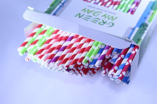 Paper Straws Green My Day High Quality Biodegradable- 200 Pack, 5 Different Colored Pattern Compostable Straws for Party Supplies, Birthday, Wedding, Bridal/Baby Shower Decorations and Celebrations ()