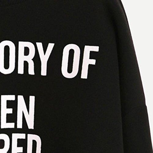 Vovotrade Mujer Pullover Sudaderas Impresión del lema inglés Pull-over Cuello redondo Imprimir carta Manga larga Casual Sudaderas Pull-over Negro