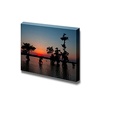 Canvas Prints Wall Art - Beautiful Scenery/Landscape Kayaker on Lake Martin, Louisiana | Modern Wall Decor/Home Decoration Stretched Gallery Canvas Wrap Giclee Print & Ready to Hang - 16