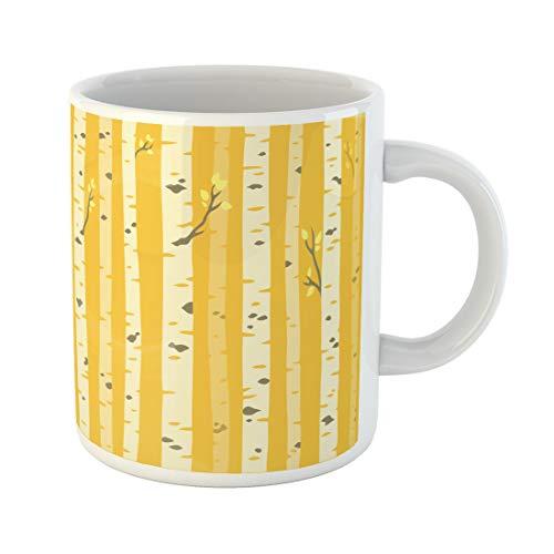 Semtomn Funny Coffee Mug Orange Autumn Aspen Grove Tileable Pattern Birch Trees Yellow 11 Oz Ceramic Coffee Mugs Tea Cup Best Gift Or Souvenir]()