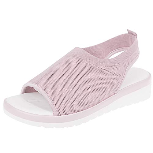 Women's Athletic Walking Shoes Casual Mesh Comfortable Work Sneakers ,Londony Casual Espadrilles Trim Open Toe Sandal Pink
