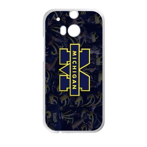 Generic Custom Unique Design NCAA University of Michigan Wolverines Blue and Yellow Team Logo PC and TPU Case Cover for HTC One ()