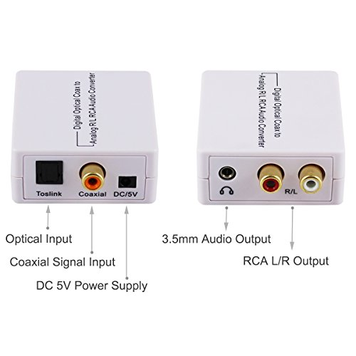 AVENK Digital Optical Toslink SPDIF Coaxial to Analog Stereo RCA and 3.5mm Headphone Audio Converter Adapter: Amazon.com: Industrial & Scientific