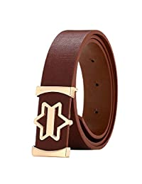 Susenstone Fashion Solid Unisex Star Casual Smooth Buckle Wide Leather Belt(Coffee)
