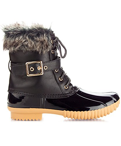 Boots New Pvc Resistant Rain Calf Snow ROF Water Lined Sock Women's Mid Shearling Booties Fleece Black Duck Rubber Zq6nfwTv