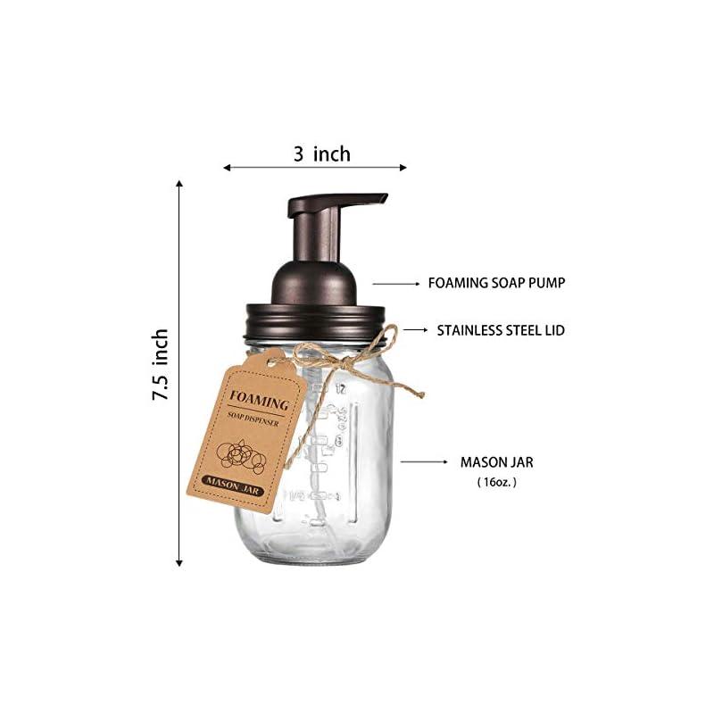 Mason Jar Foaming Soap Dispenser - Rustproof Stainless Steel Lid / BPA Free Foam Pump,with Chalkboard Labels - Rustic…
