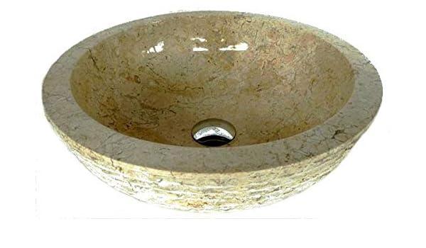 Lavabo de m/ármol Beige 40 cm Di/ámetro exotica import. 1 Puerta jabon