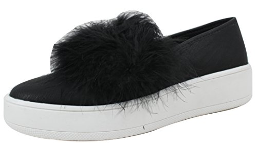 Soda Women's Closed Toe Fuzzy Fur White Low Platform Rubber Sole Loafer Slip on Black