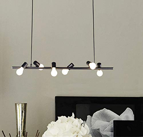 MIINO Industrial Iron Works Contemporary Linear Island Pendant 6-Light Ceiling Lights Chandelier Lighting,Matte Black ()