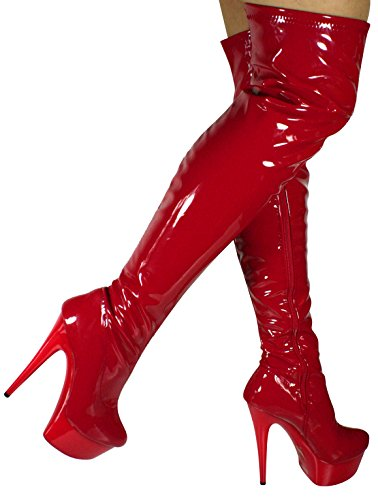 Erogance Plateau High Heels Overkneestiefel - Botas de charol para mujer Rojo - rojo