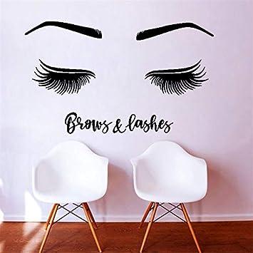 Ajcwhml Habitación para niñas Etiqueta de la Pared Salón Chica Cejas Pestañas Logo Pestañas Decoración del hogar Moderno Ornamento de Moda 122x72cm: Amazon.es: Hogar