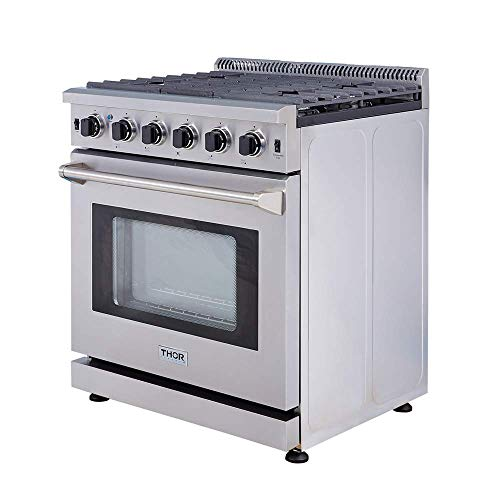 Thor Kitchen 30″ Professional Style Stainless Steel Gas Range Oven with 5 Burner, LRG3001U